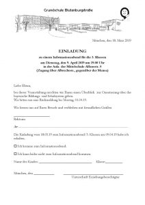 Einladung 2019 Infoabend 3. Klassen